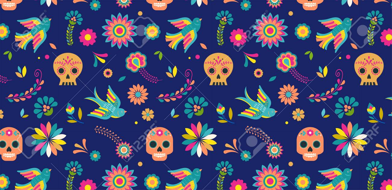 Day Of The Dead Dia De Los Muertos Background And Seamless Pattern Stock Vector
