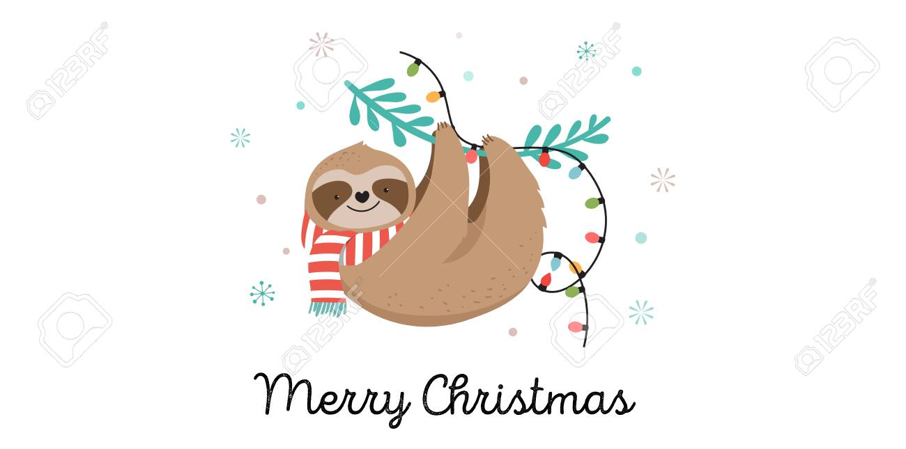 Cute lazy sloths, funny Merry Christmas illustrations with Santa Claus costumes, hat and scarfs, greeting cards set, banner - 110023208