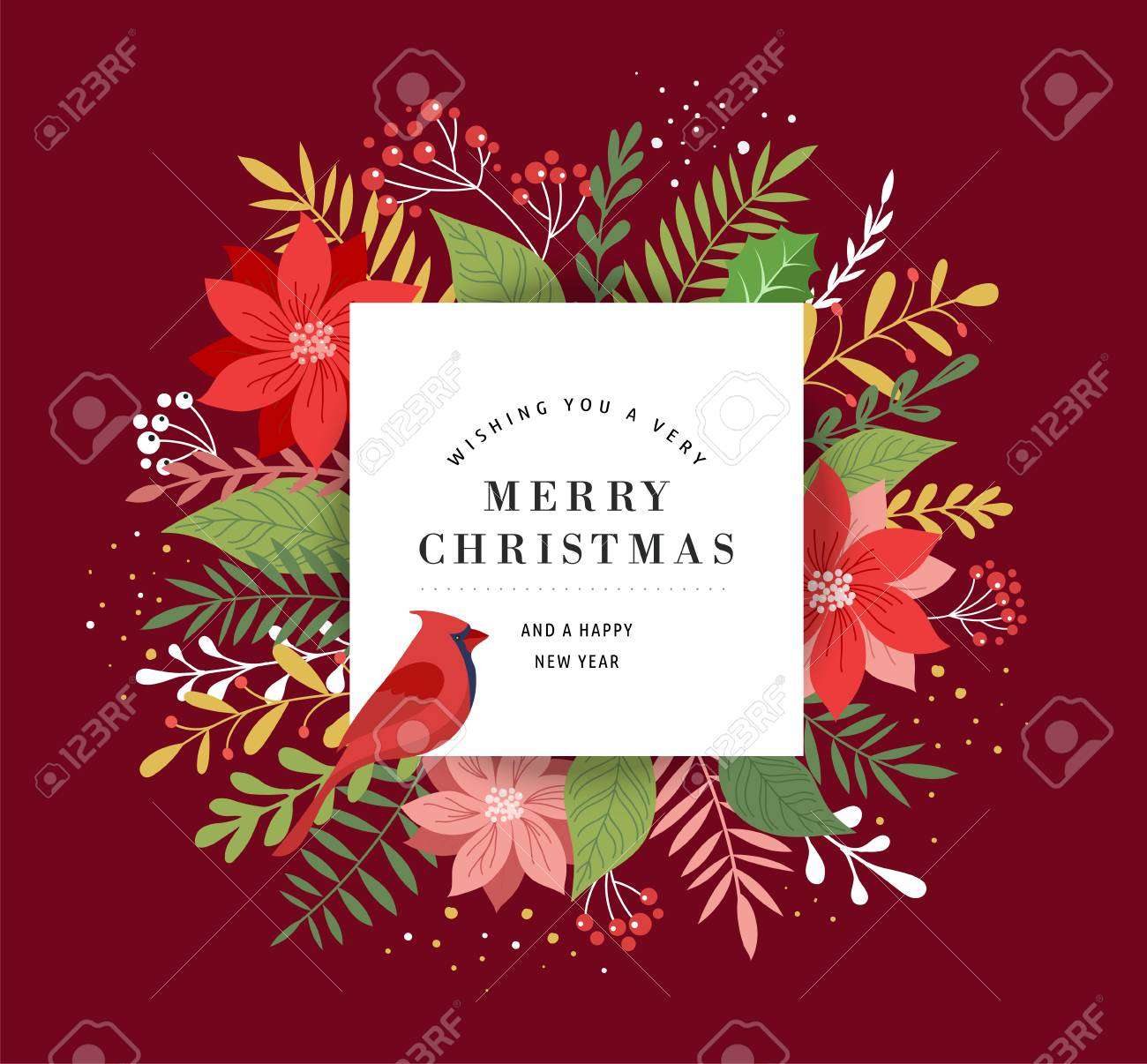 Merry Christmas Greeting Card Template Banner And Background