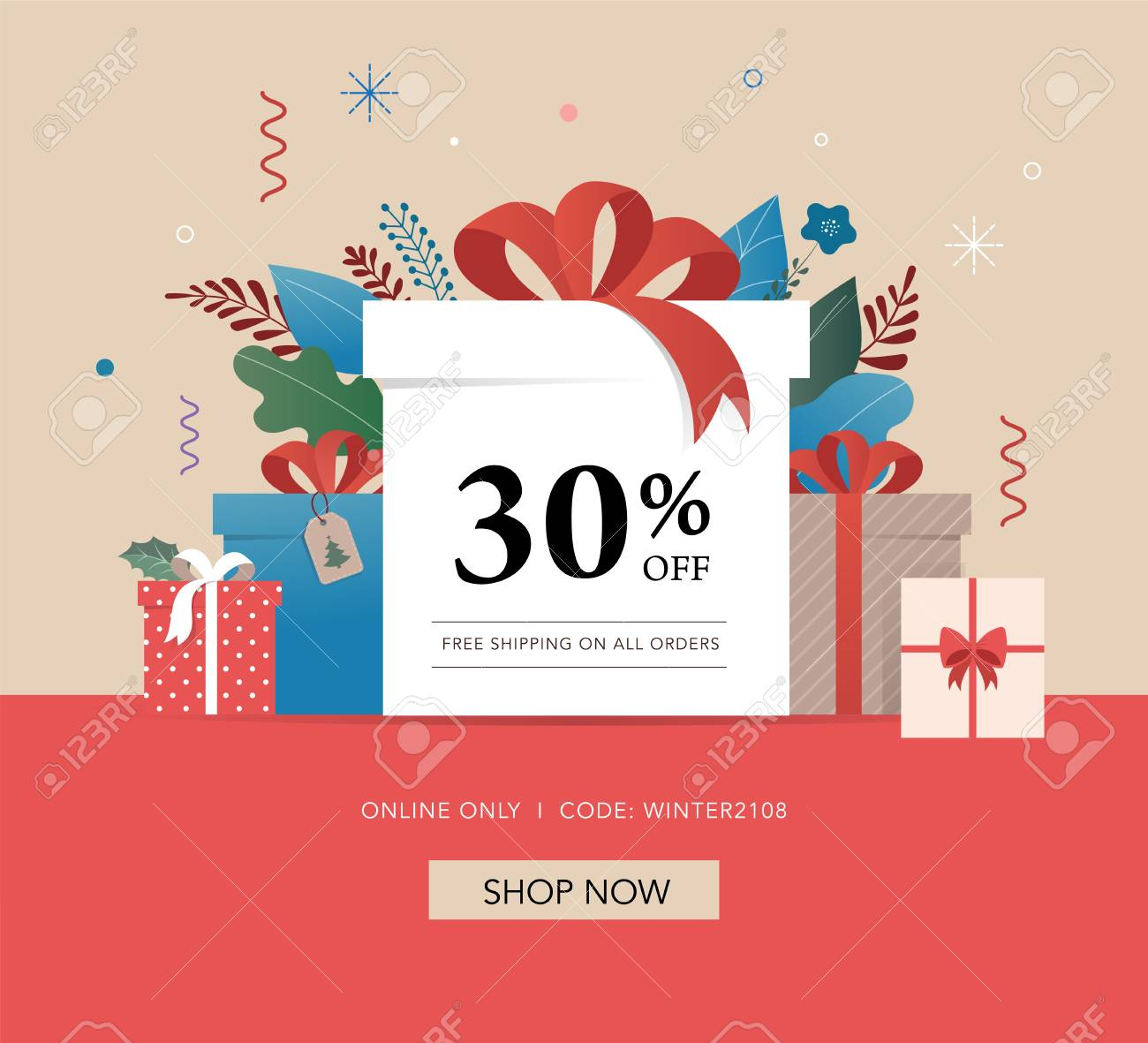 promo christmas new year banner and card template sale poster and flyer with gift