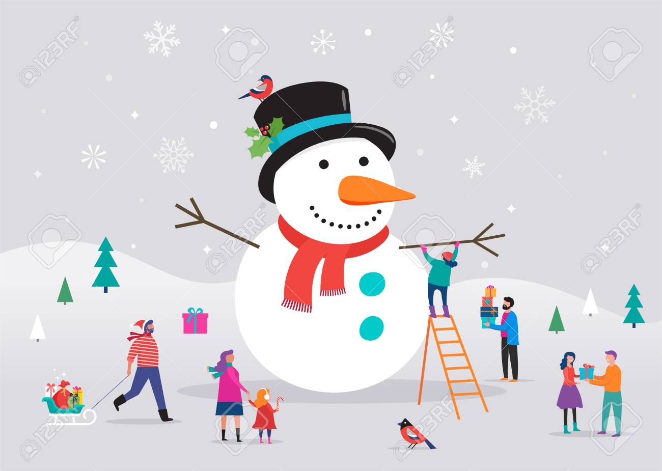 Huge Christmas Card.Merry Christmas Card Background Bannner With Huge Snowman And