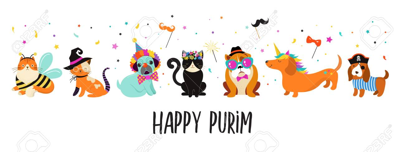 Funny animals, pets. Cute dogs and cats with a colorful carnival costumes, vector illustration, Happy Purim banner - 117013484