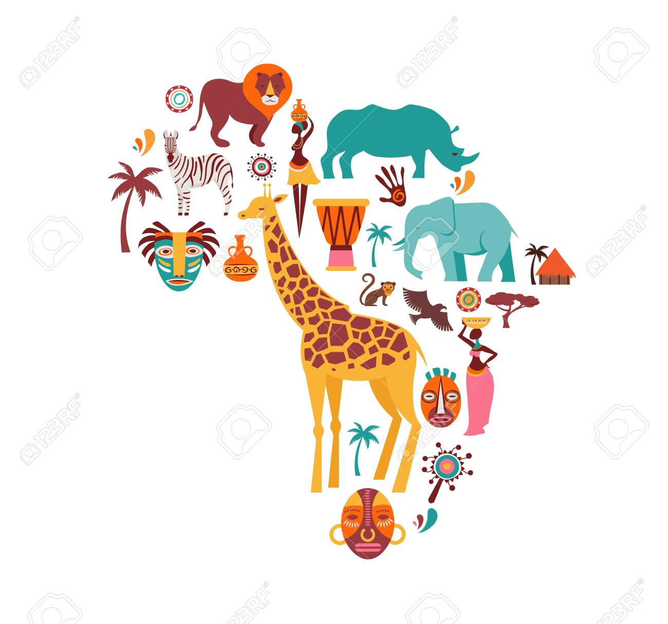 Africa map illustrated with animals icons, tribal symbols. Vector design - 128762775