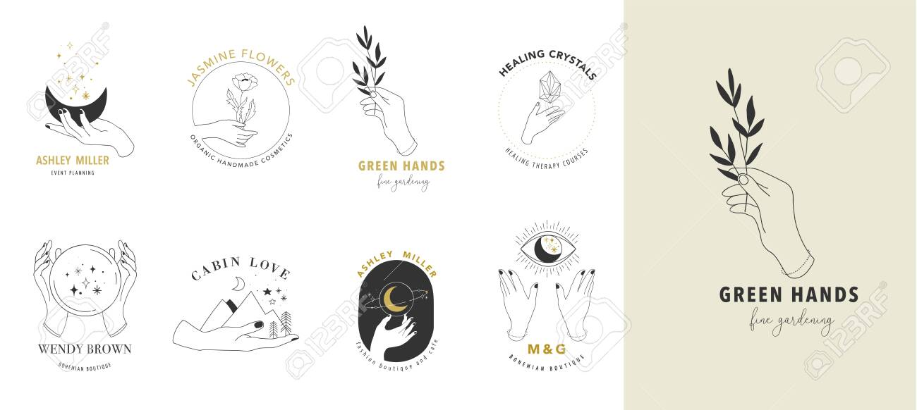 Collection of fine, hand drawn style and icons of hands. Esoteric, fashion, skin care and wedding concept illustrations. - 128762466