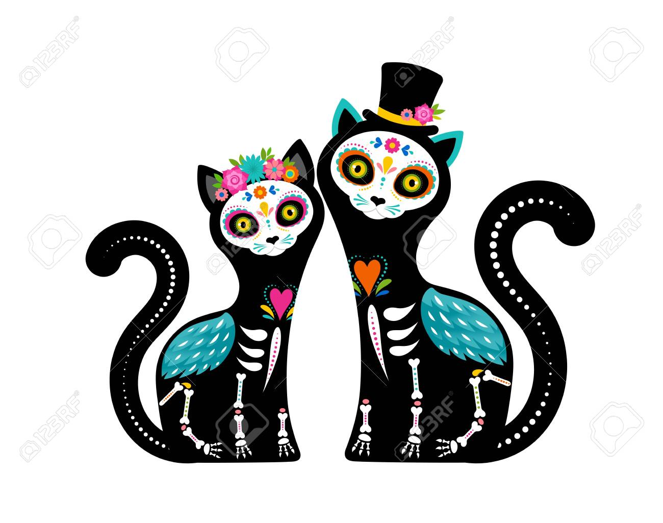Day of the dead, Dia de los muertos, cats skulls and skeleton decorated with colorful Mexican elements and flowers. Fiesta, Halloween, holiday poster, party flyer. Vector illustration - 131222224