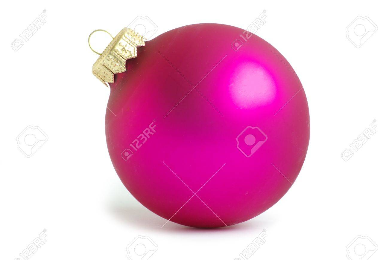 Pink christmas ball isolated on white background - 8169427