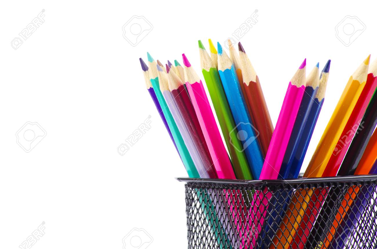 A stack of colored pencils on white background Stock Photo - 12381578