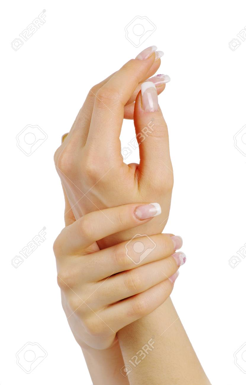 female hands with french manicure isolated over white Stock Photo - 12381913