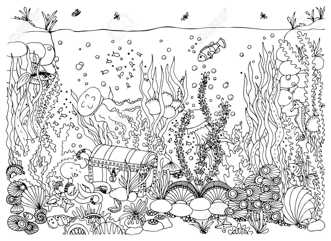 Coloriage Bateau Sous Marin.Monde Sous Marin Mer Griffonnage Ocean Conte De Fees Une Aventure Coffre Au Tresor Coloriage Livre Anti Stress Pour Les Adultes Noir Et Blanc