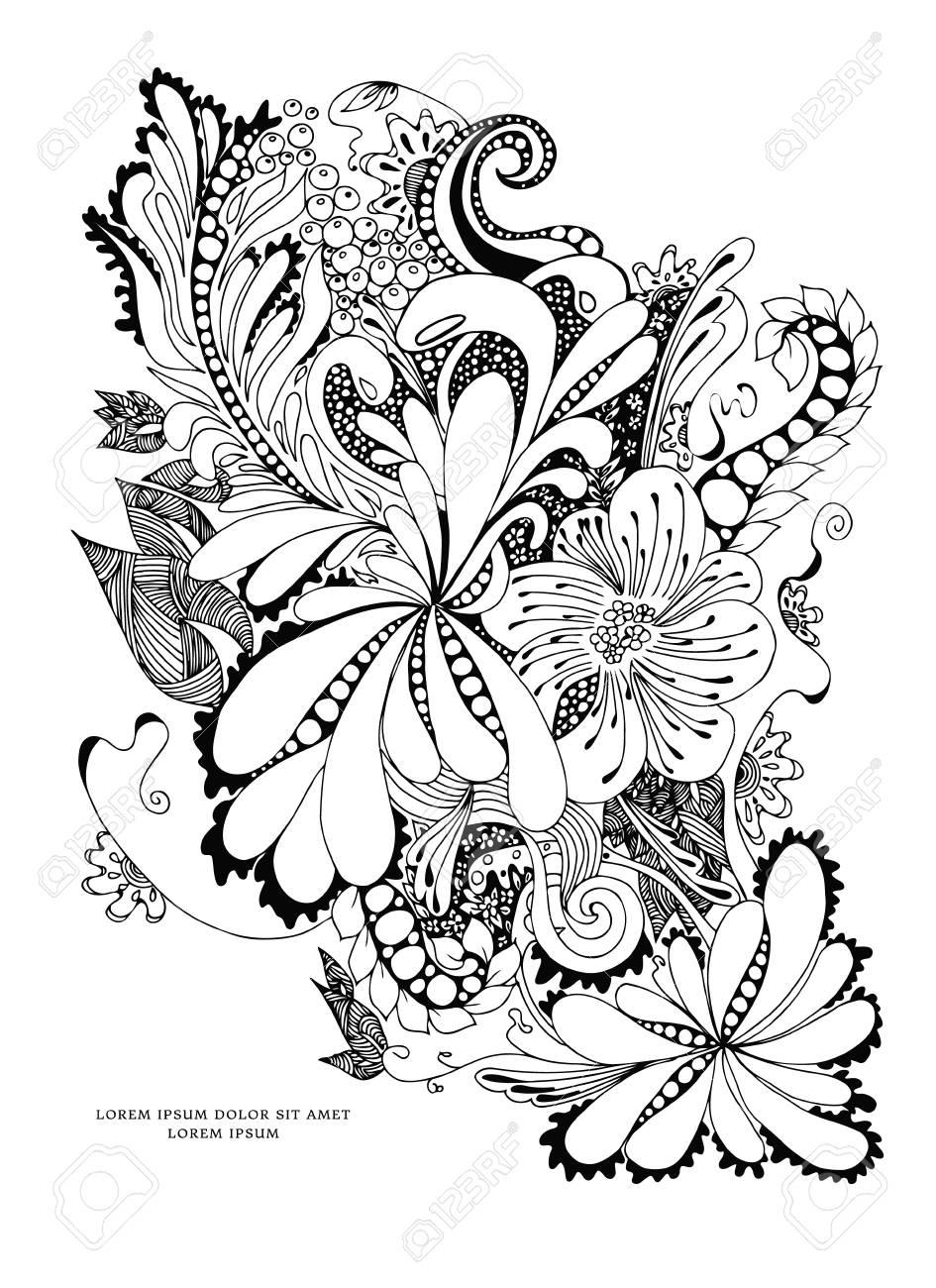Ilustración De Flores Y Negro Blanco. Libros Para Colorear Para ...