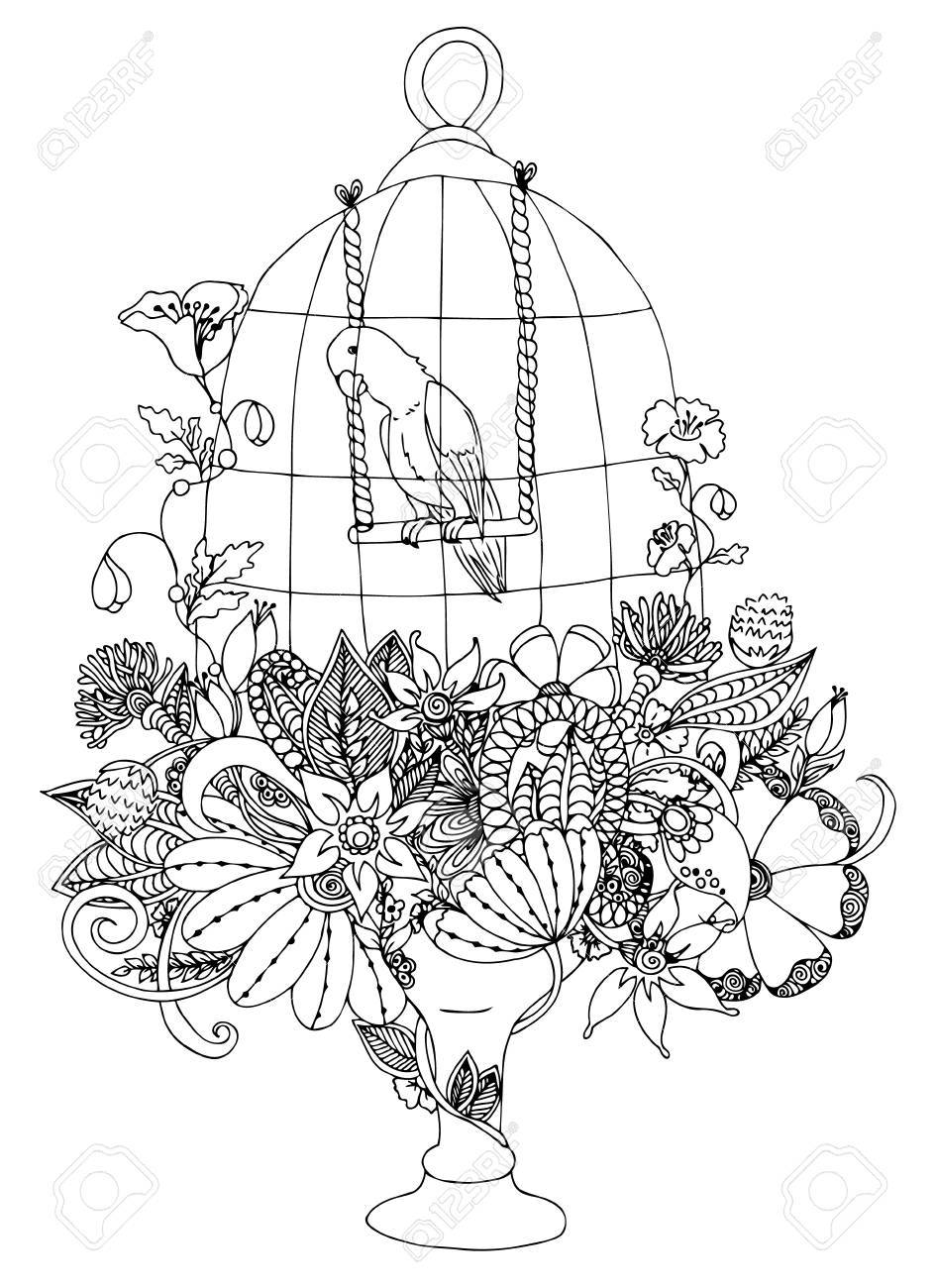 Illustration Cage With A Parrot And Flowers. Coloring Book Anti ...