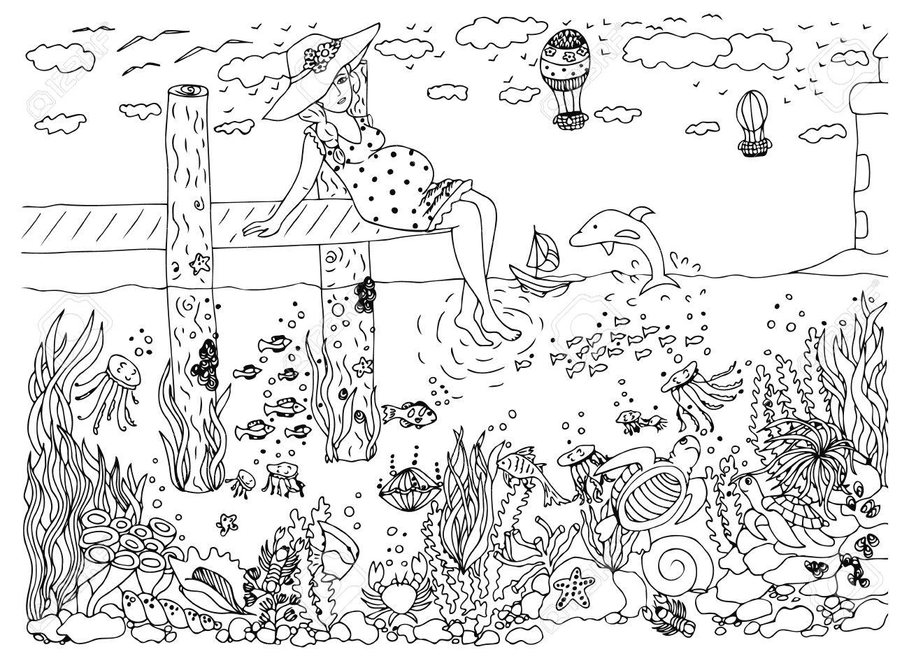 Illustration Femme Enceinte Et La Mer Dessin Doodle Monde Sous Marin Jetée Phare Vacances Dauphin Coloriage Livre Anti Stress Pour Les Adultes