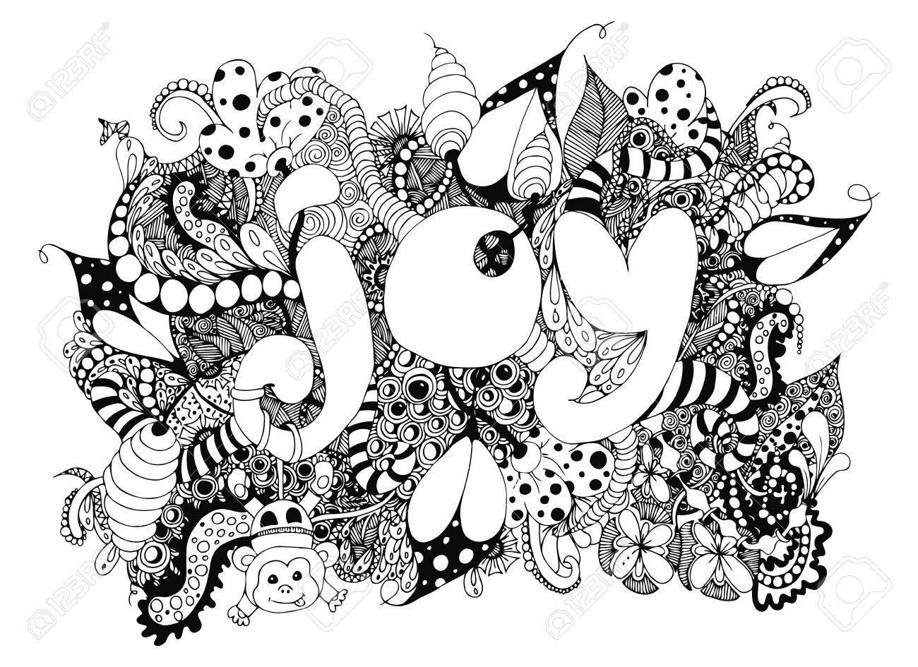 Mot Dillustration Joy Avec Des Motifs Doodle Dessin Singe