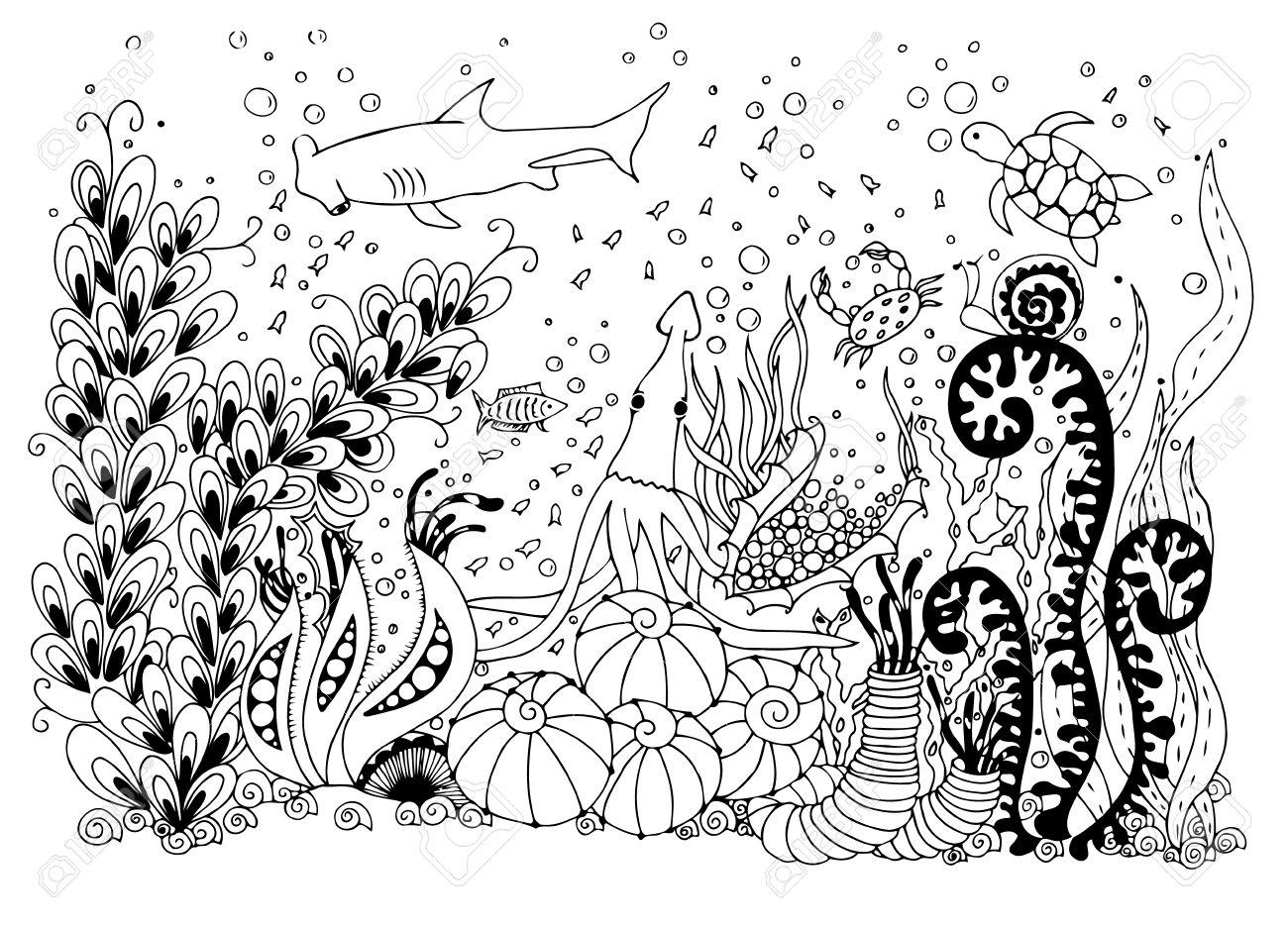Mundo Submarino De Ilustración. Doodle Mar, Océano, Cuento De Hadas ...
