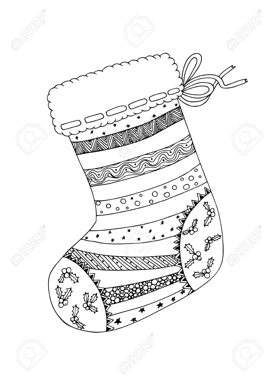 Doodle Sketch Of Christmas Sock In Black And White Design. Coloring ...
