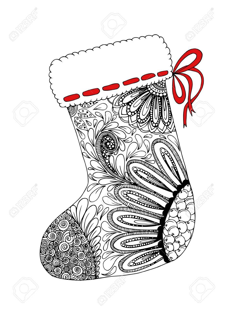 Doodle Croquis De Conception De Zentangle Chaussette De Noel Livre De Coloriage Pour Adultes Et Enfants Plus Ages Illustration Vectorielle