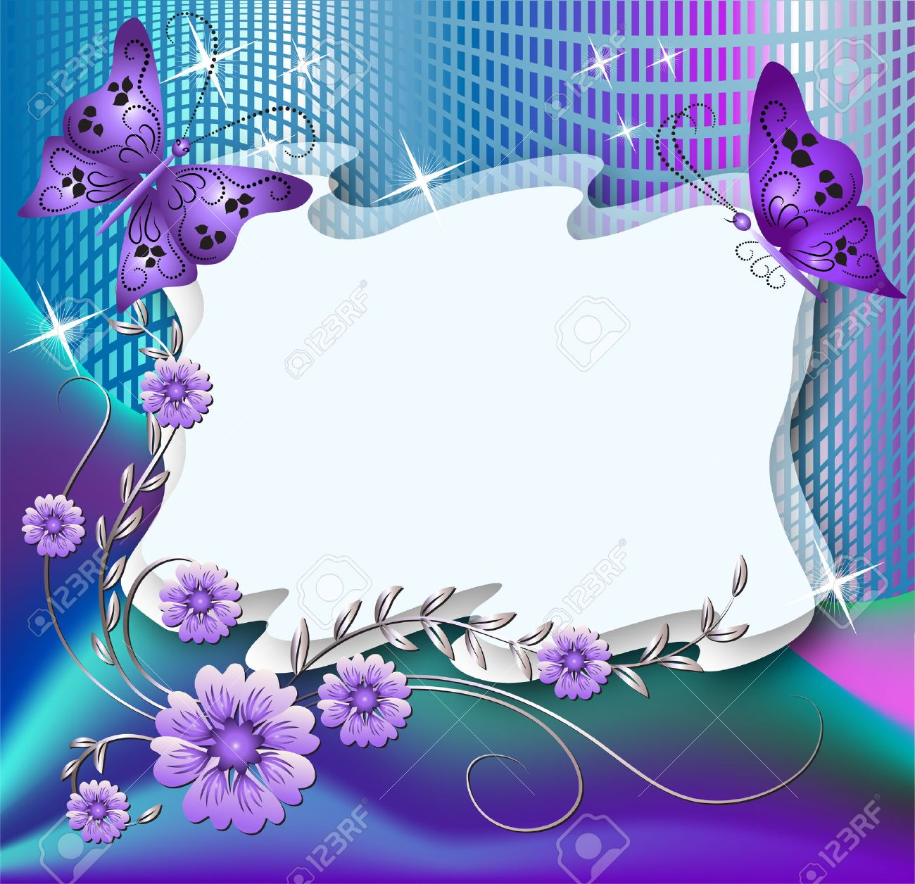 Magic floral background with butterflies and a place for text or photo Stock Vector - 8011754