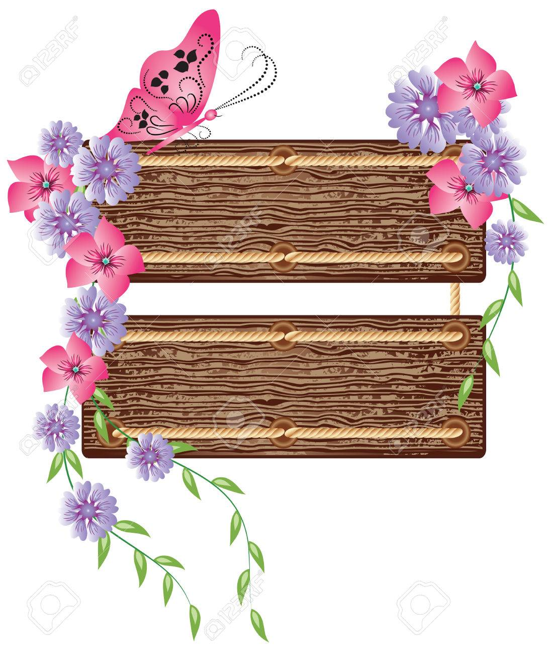 Floral background with wooden texture for text Stock Vector - 8011760