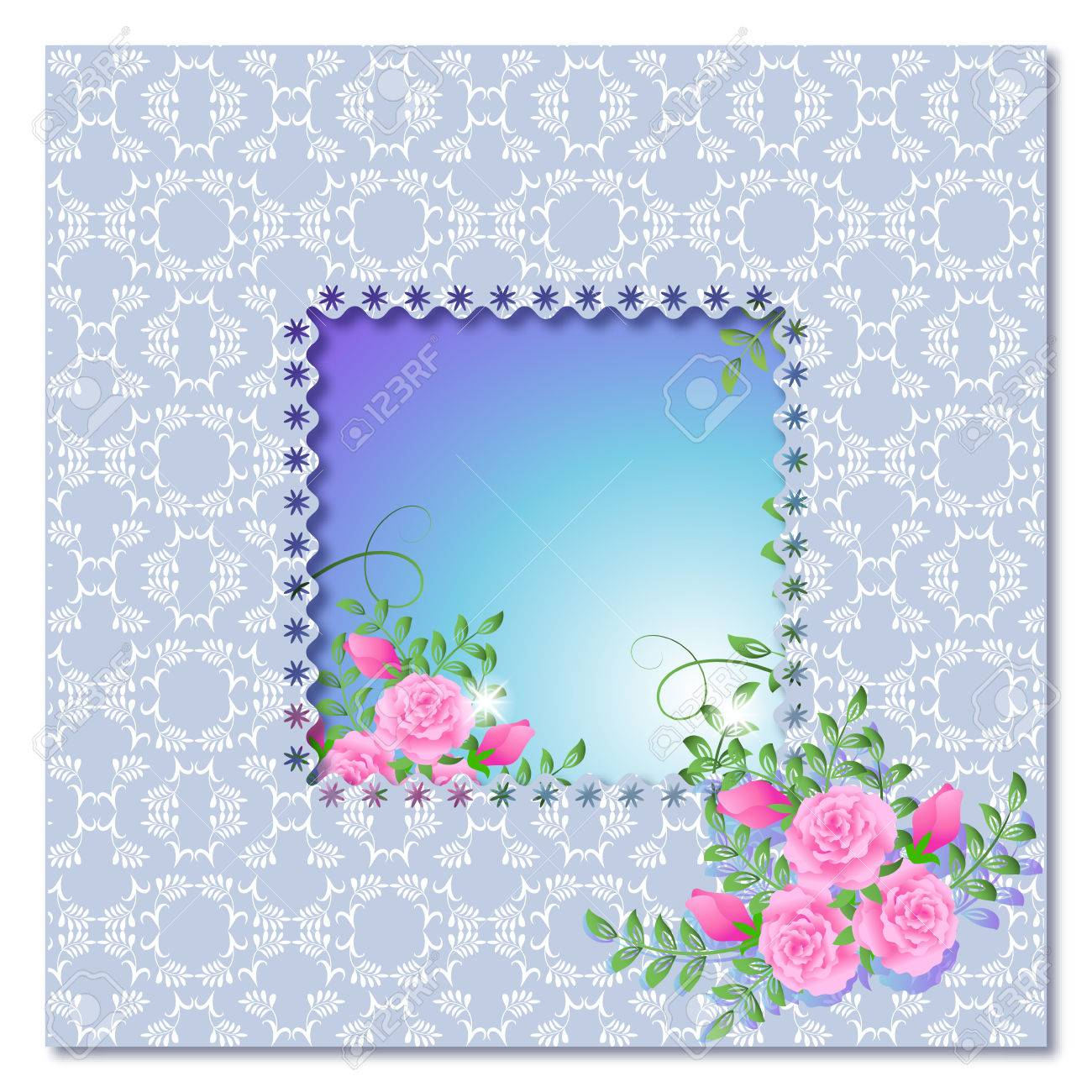 Background with frame, roses and a place for text or photo. Stock Vector - 8154181