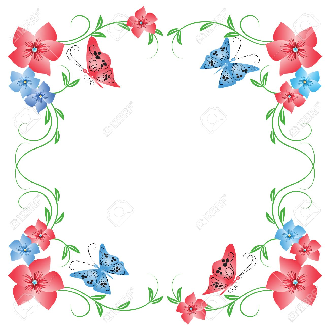 Floral frame with butterfly Stock Vector - 8212828