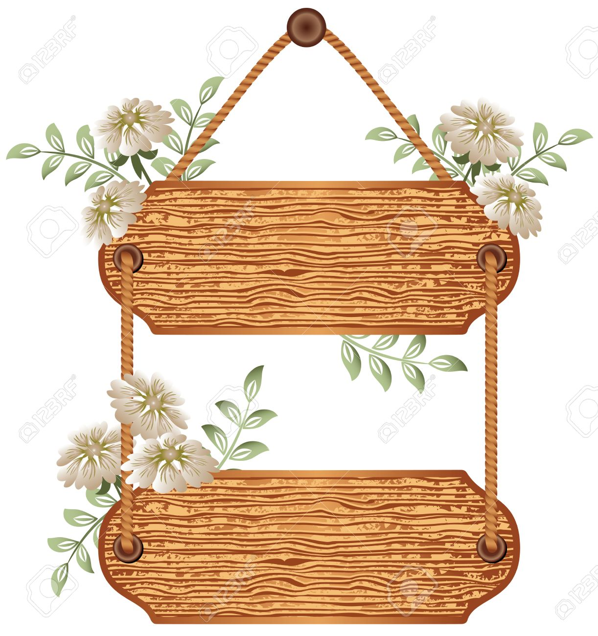 Wooden  signboard with flowers for text Stock Vector - 8212860