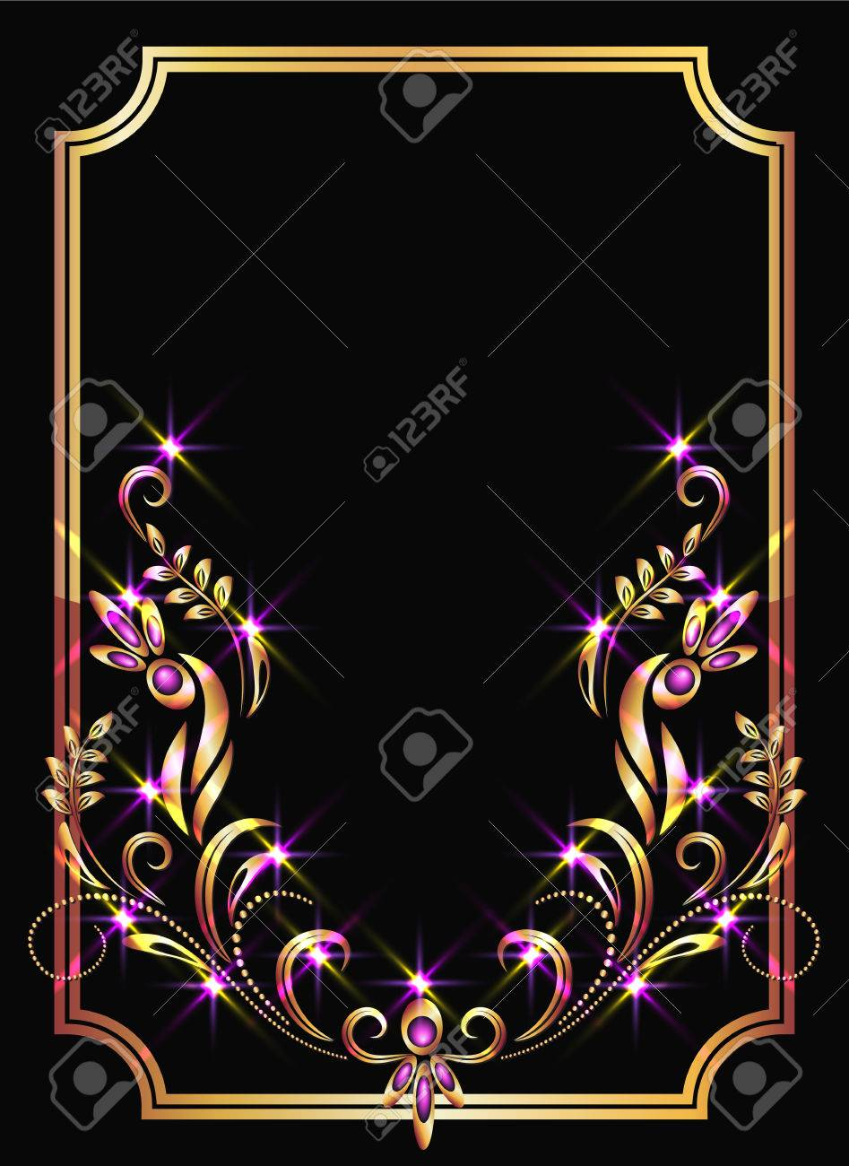 Background with golden ornament and sparkling lights Stock Vector - 8348718