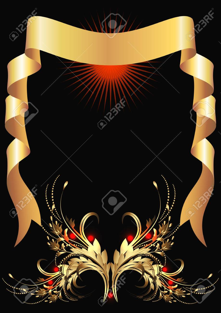 Background with golden ornament and elegant ribbon Stock Vector - 8348753