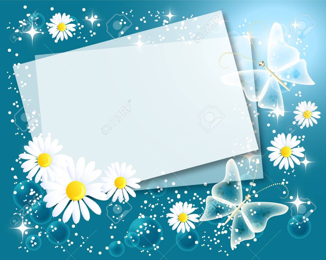 Magic floral background with chamomiles, butterfly, stars and a place for text or photo Stock Vector - 8776831
