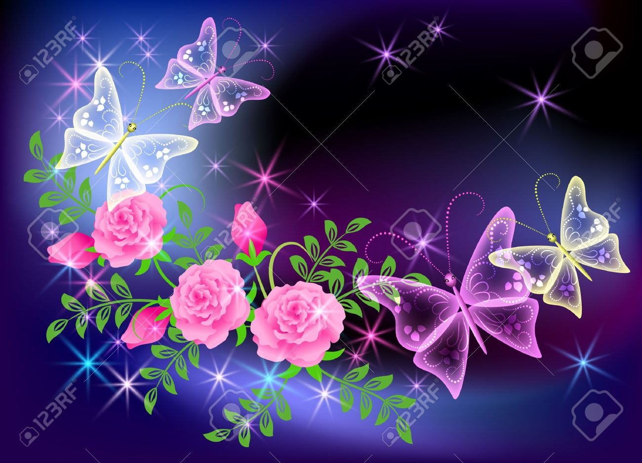 Glowing transparent flowers, stars and butterfly Stock Vector - 8776780