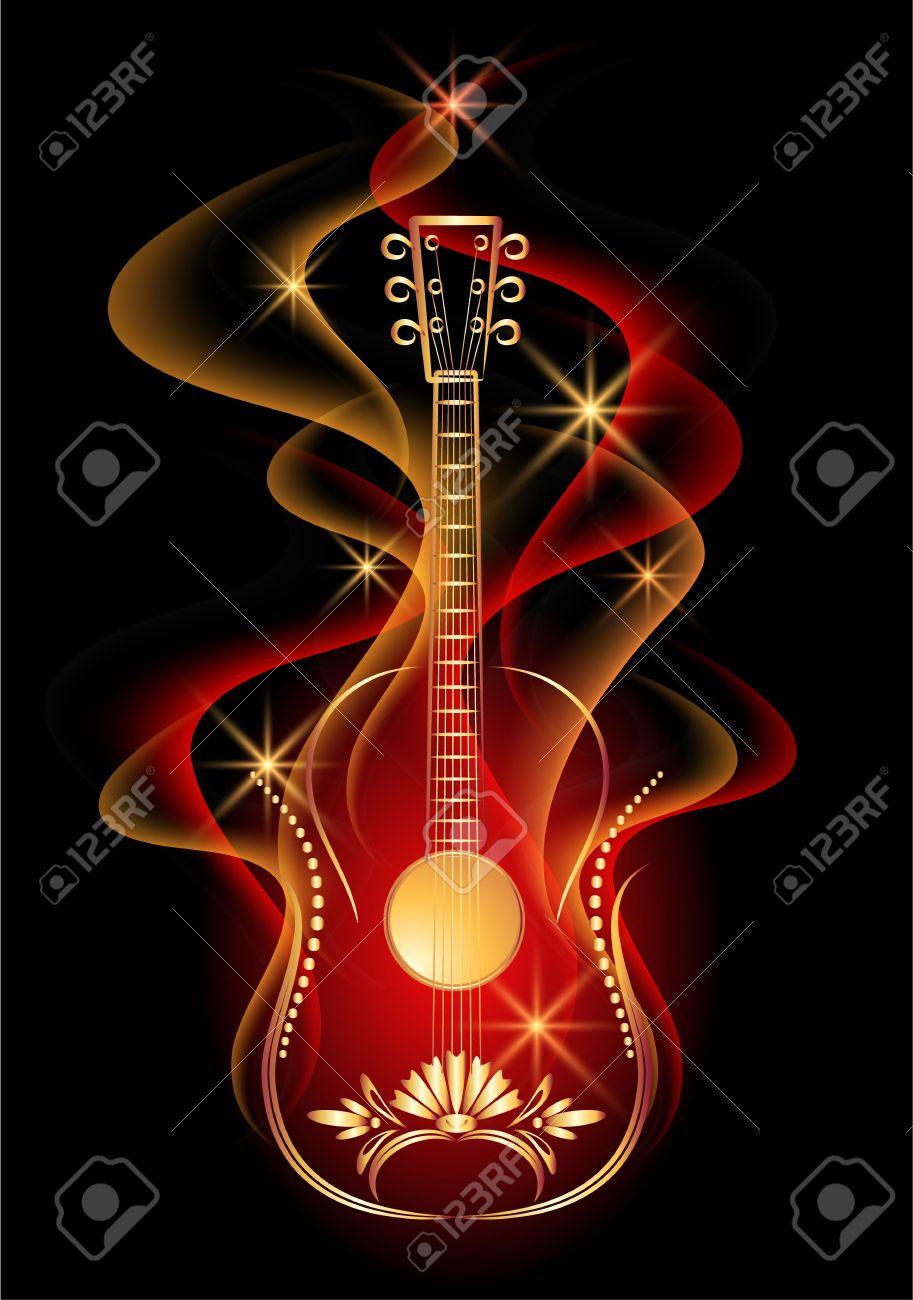 Guitar in smoke Stock Vector - 9375753