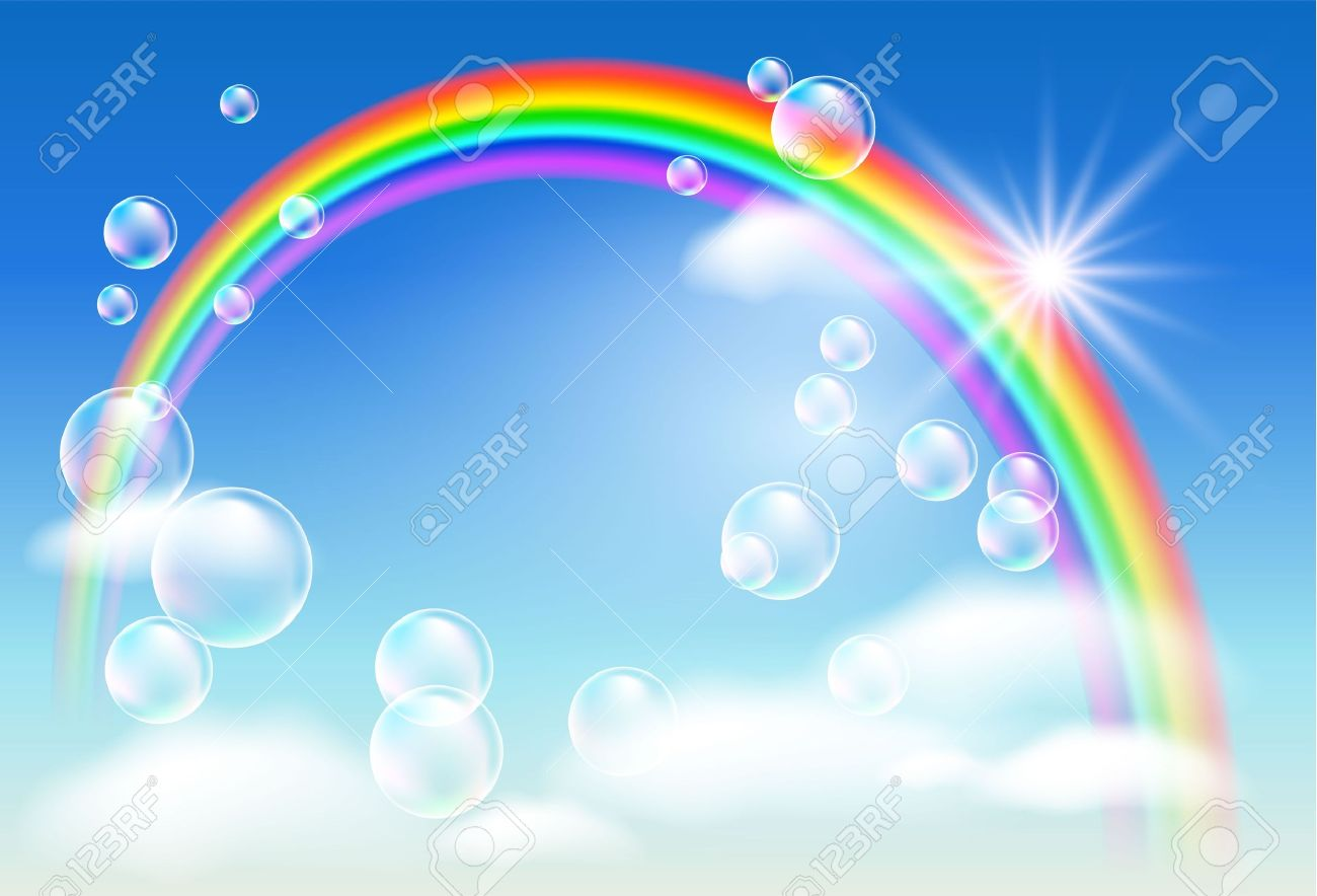 Rainbow, sky, clouds, bubbles  and  sunshine Stock Vector - 9380466