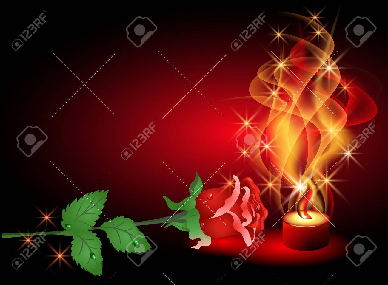 Rose and a burning candle Stock Vector - 9611771