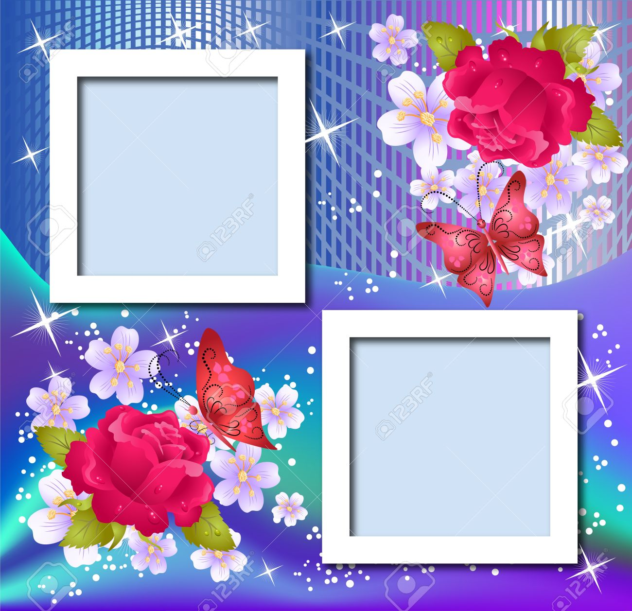 Design Photo Frames With Flowers And Butterfly Royalty Free Cliparts ...