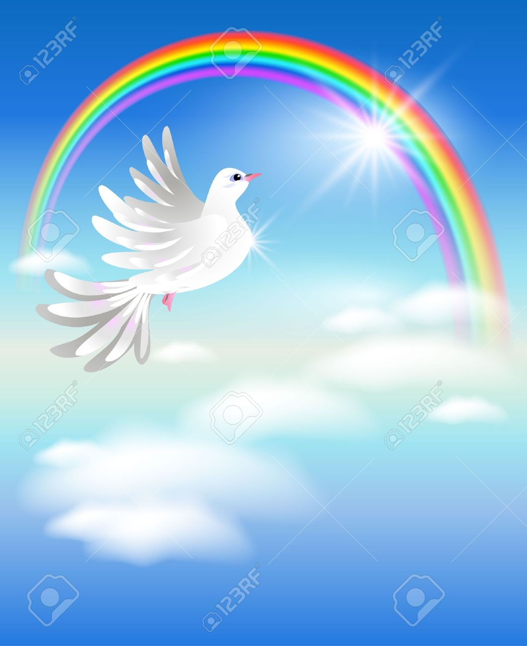 Pigeon flies to the rainbow in the clouds Stock Vector - 9657876
