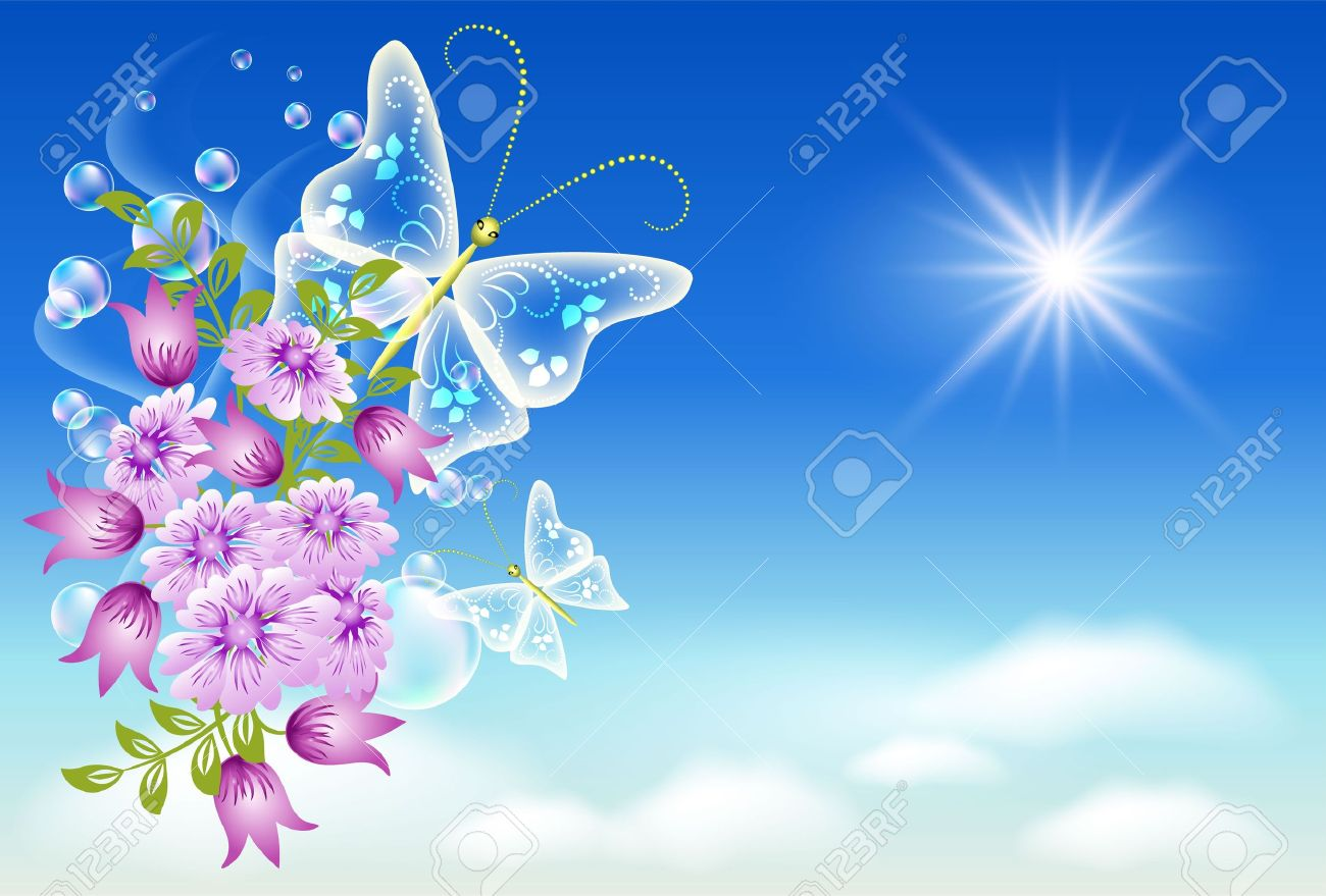 9657874-Flowers-and-butterflies-in-the-sky-Stock-Vector-flowers-heaven-butterfly.jpg