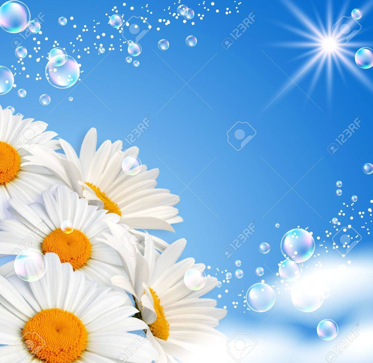 Daisies and bubbles against the sky Stock Photo - 9809827