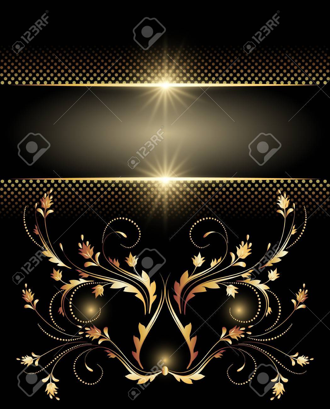 Background with glowing stars, silver ornament and smoke Stock Vector - 9810129