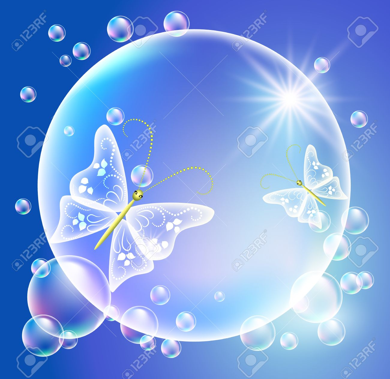 Bubbles with butterflies Stock Vector - 9810245