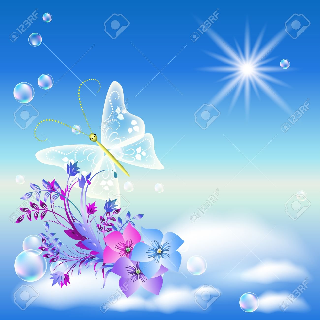 Flowers And Butterflies In The Sky Royalty Free Cliparts Vectors