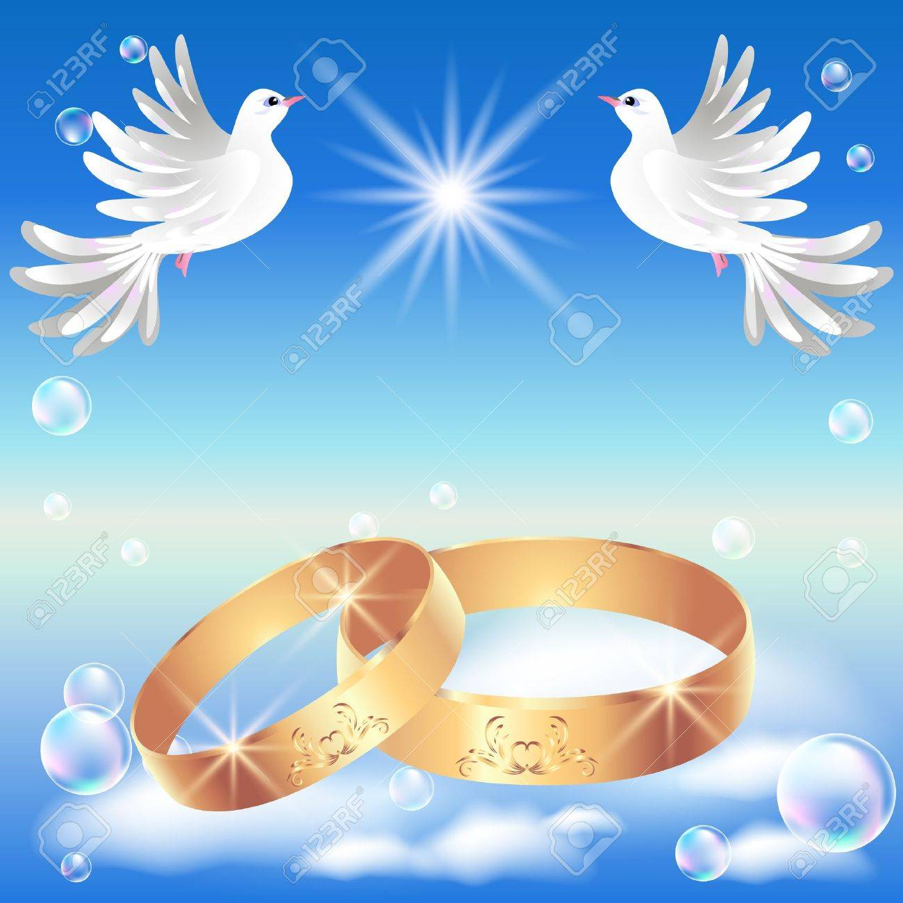 Card With Wedding Ring And Dove In The Clouds Stock Vector