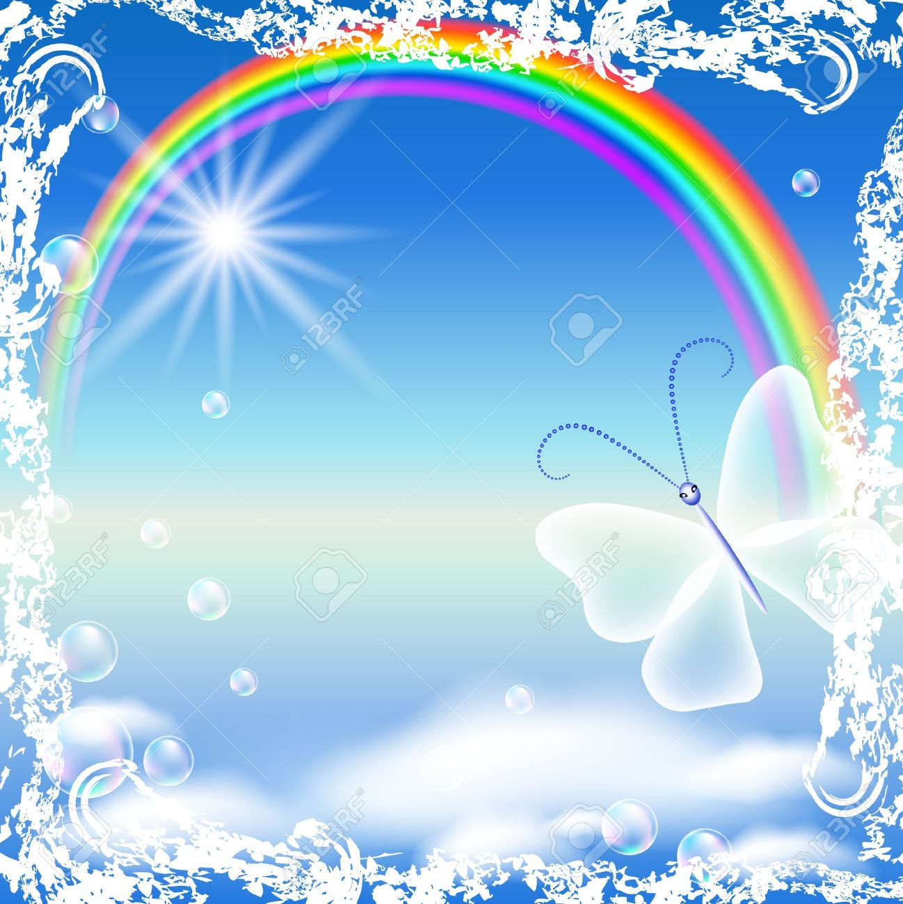 Rainbow, clouds and butterfly in grunge frame - 9810287
