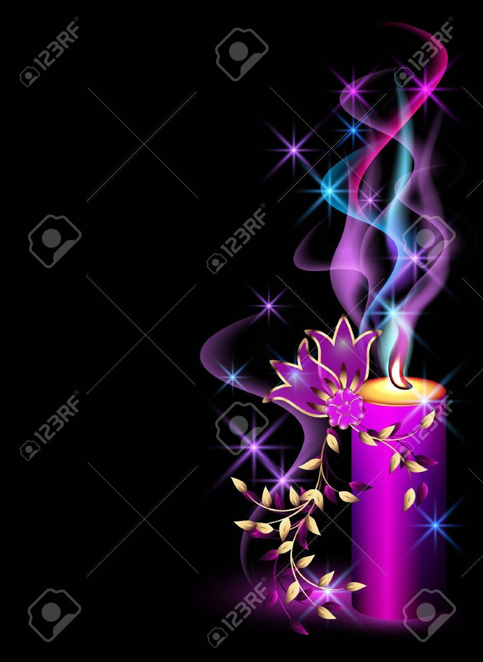 Burning candle, smoke, stars and flowers Stock Vector - 9859494