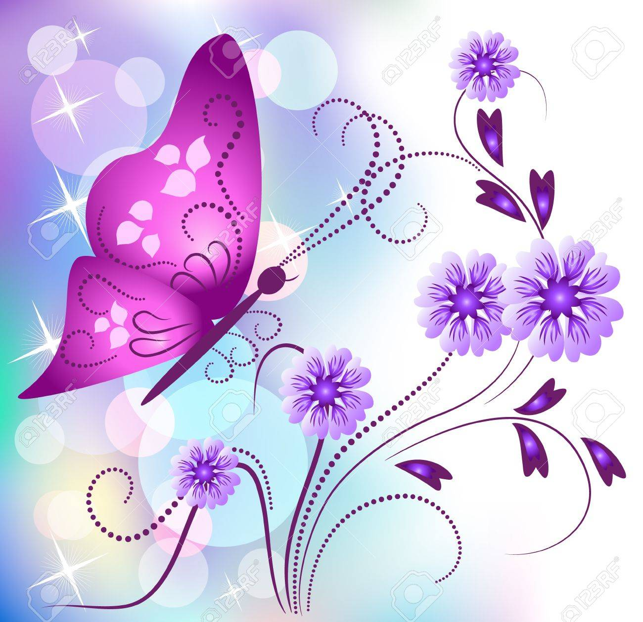 Floral background with butterfly Stock Vector - 9932916