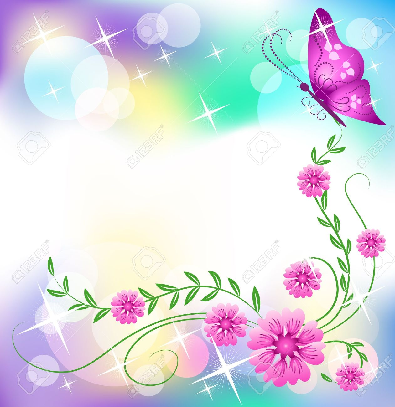 Floral background with butterfly Stock Vector - 9932919