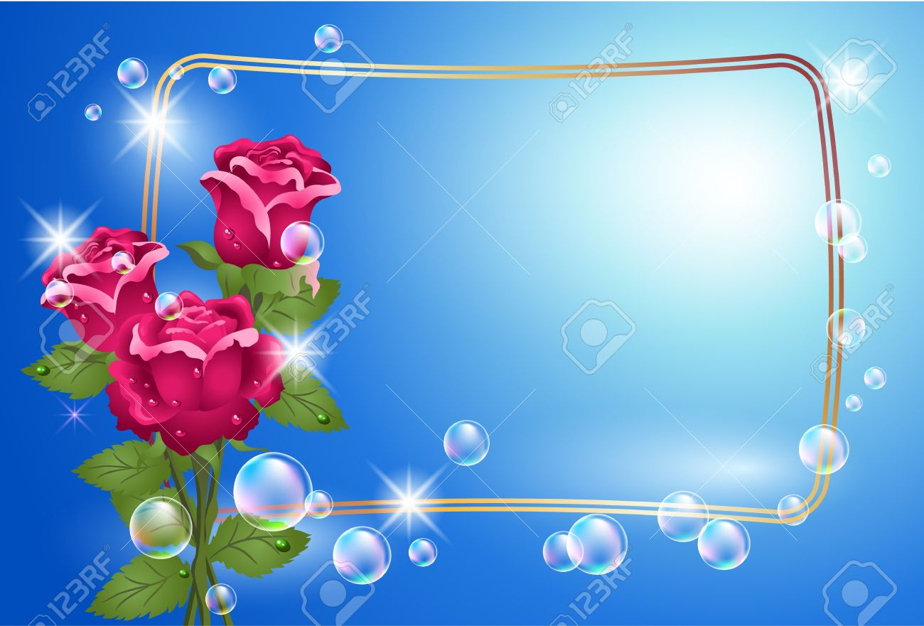 Glowing background with roses, golden frame and bubbles Stock Vector - 9933040