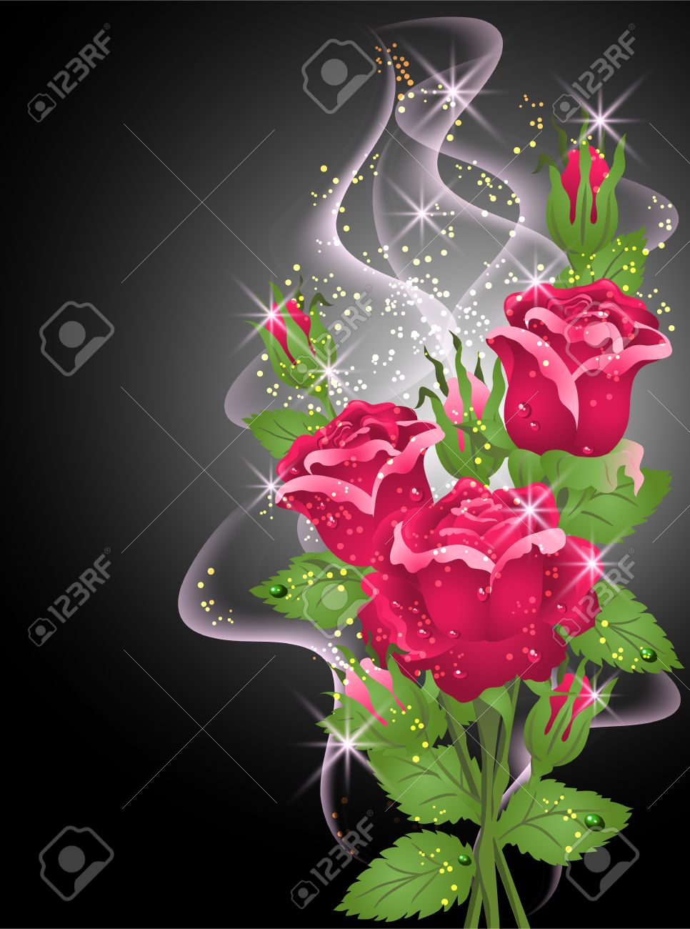 glowing background with roses smoke and stars royalty free