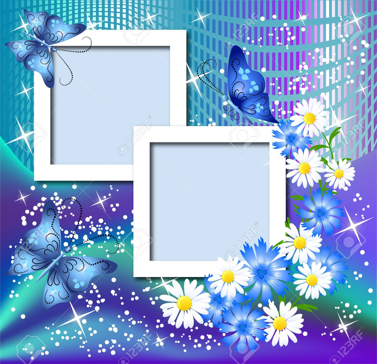 design photo frames with flowers and butterfly stock vector 10057274