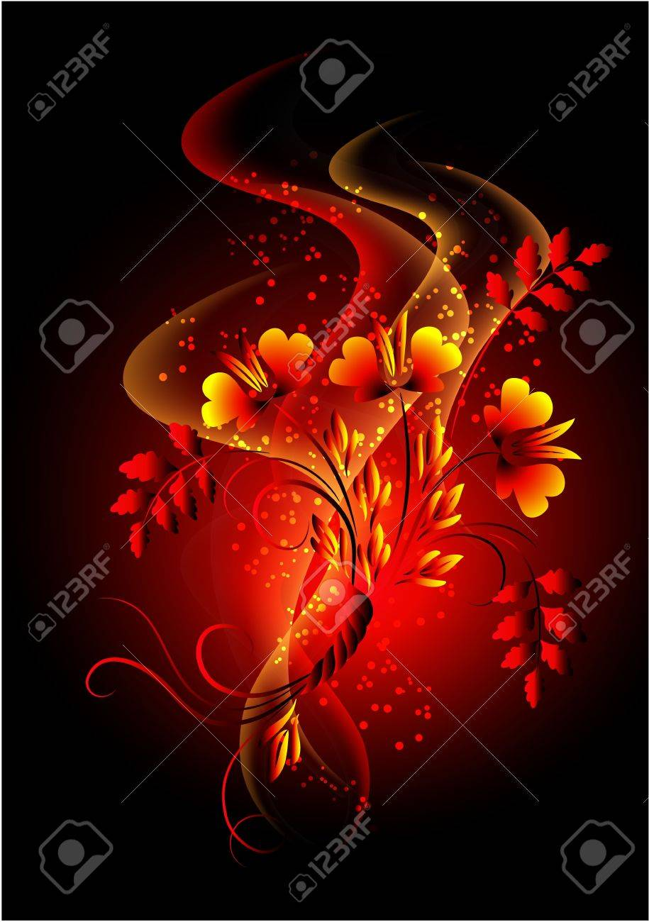 Glowing background with smoke and golden ornament Stock Vector - 10057272