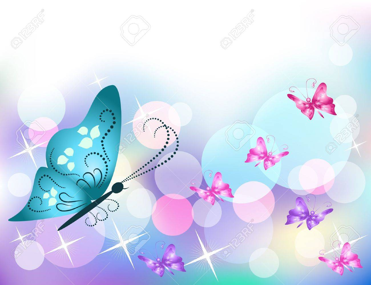 Background with butterfly and stars Stock Vector - 10143833