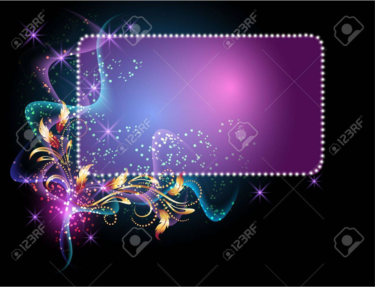 Glowing background with signboard, smoke, stars and golden ornament Stock Vector - 10194555